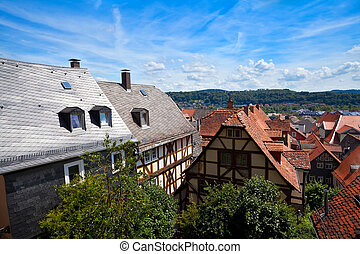 view on the red roofs in Marburg city