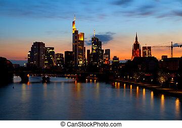 Frankfurt am Main cityscape at sunset, Germany