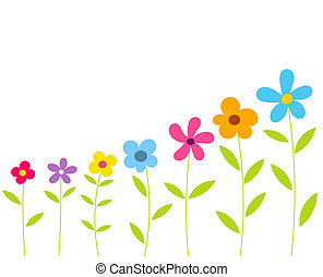 Flowers row - Flowers growing in a row. Vector