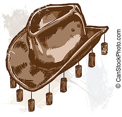 Vector illustration of a cowboy or Australian style hat All...