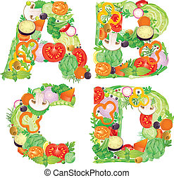 Alphabet of vegetables ABCD. Contains transparent objects....