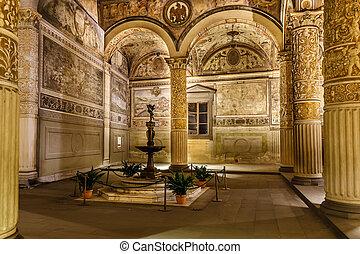 Rich Interior of Palazzo Vecchio Old Palace a Massive...