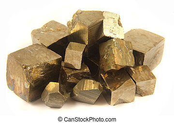 golden cubes isolated on the white background