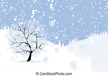 Winter tree for your design. Christmas holiday. - Winter...