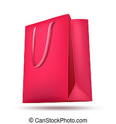pink shopping bag on white