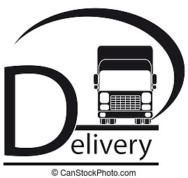 delivery symbol with truck and text - icon with delivery...