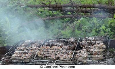 shashlik meat bake ember - shashlik fresh meat baked in...
