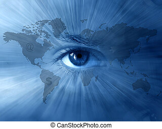 World-map, bleu, yeux