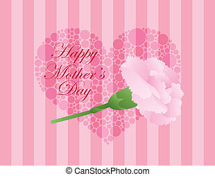 Mothers Day Pink Carnation Flower Illustration - Happy...