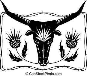 Bull and Thistles - Stencil type art featuring a bulls head...