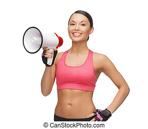 woman with megaphone - picture of beautiful sporty woman...