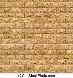 Seamless Texture of Yellow Sandstone Brick Wall - Seamless...