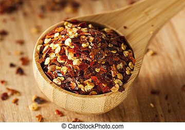 Organic Spicy Red Pepper Flakes used for cooking