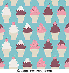 Ice Cream Cones Background - Seamless pattern with ice cream...