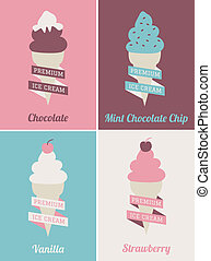 Ice Cream Posters Set - Vintage style ice cream posters...