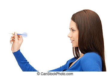 businesswoman with dart - bright picture of confident...