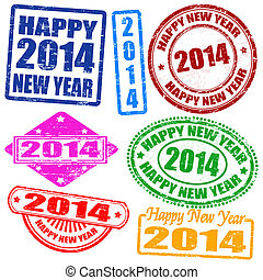 2014 new year stamps - Set of 2014 new year grunge stamps,...