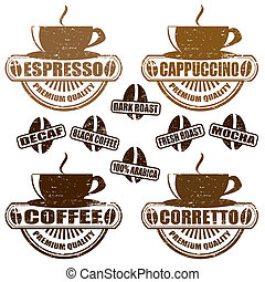Types of coffee stamps - Set of vintage stamps with...