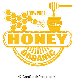 Honey stamp - Honey grunge rubber stamp on white background,...