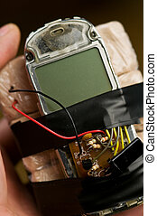 bomb - homemade bomb with mobile phone closeup