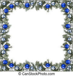 frame - christmas frame made from pine branch and ornaments...