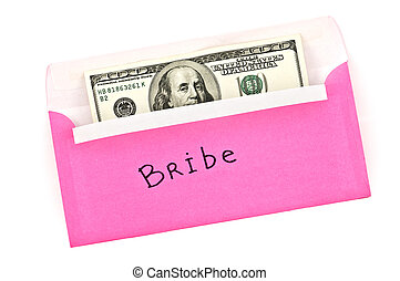 bribe - pink envelope with money isolated on white