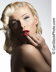blonde vintage diva - close-up portrait of sexy blonde girl...