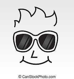 Sunglasses Face Outline - Man's face outline wearing...