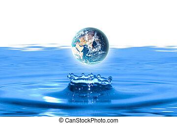earth - planet earth like water drop