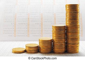 coin - gold coin graph on the calendar