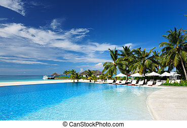 Luxury tropical swimming pool - Luxury swimming pool in the...