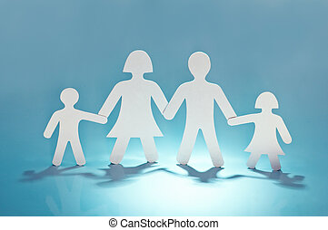 family - paper family on blue background
