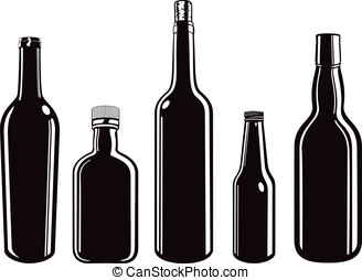 Bottles - Five vector illustrations of various bottles wine,...