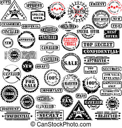 Rubber stamps collection - Collection of grunge rubber...