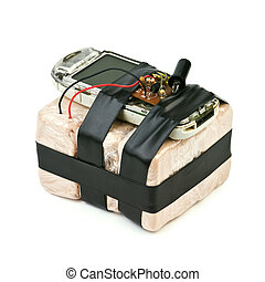bomb - homemade bomb with mobile phone isolated