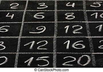 multiplication table on school blackboard - a detail of...