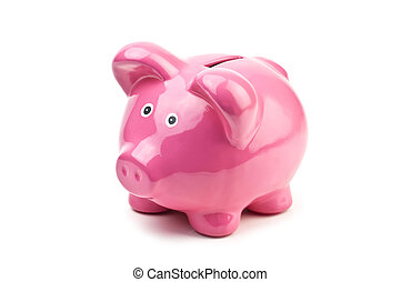 moneybox - pink pig money box isolated