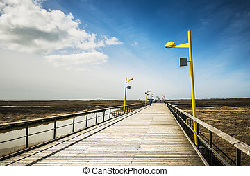 Bridge on the beach of St Peter-Ording at the North Sea on a...