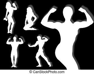 corps, constructeur, silhouette