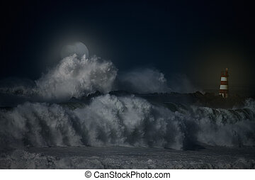 NE Atlantic night - Storm waves over beacon of the harbor of...