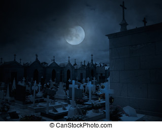Old European cemetery by night - moonlit