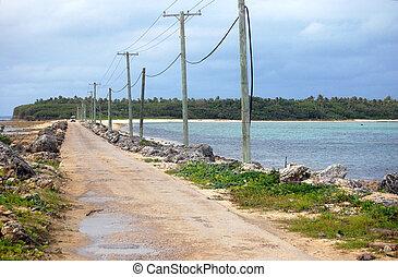 Road between islands rural area