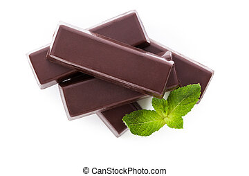 Chocolate bar with mint isolated over white - Delicious dark...