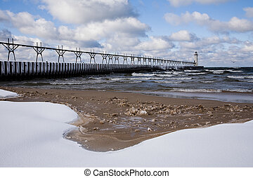 Great Lakes Light House In Winter Manistee Pierhead Light,...