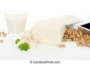 Soy concept background. - Soy milk, tofu, soybeans, granules...