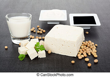 Luxurious soy products background - Delicous soy background...
