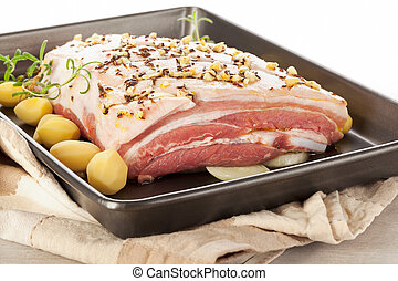 Pork belly on sheet pan. - Delicious raw pork belly with...