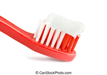 red tooth brush isolated on white