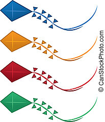 Kite Colors - Isolated kites in various colors