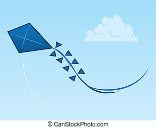 Kite Sky  - Blue kite flying through the open sky
